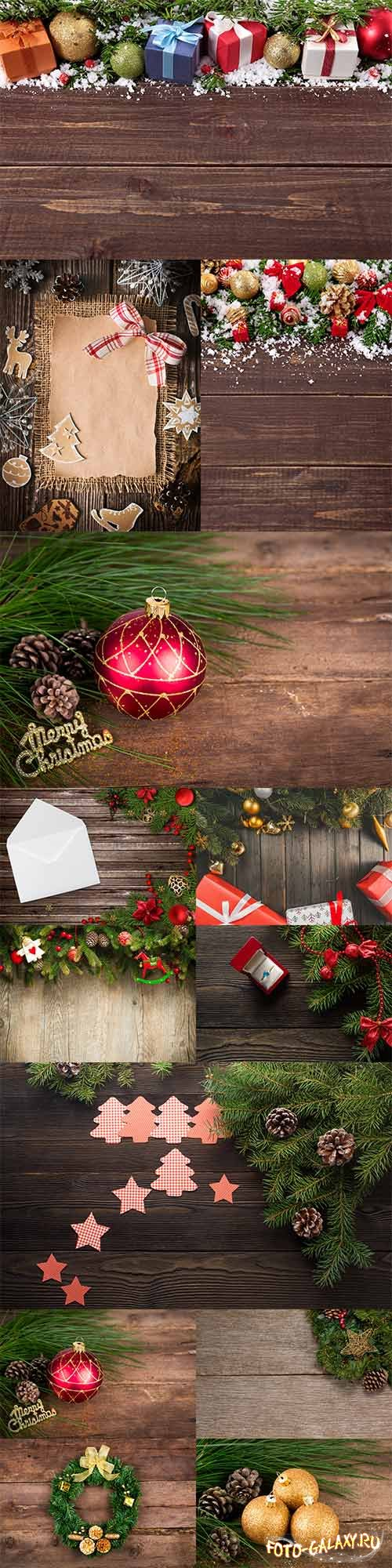Wooden backgrounds with Christmas decorations