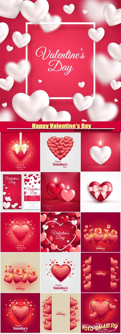 Valentines day vector, red and pink hearts