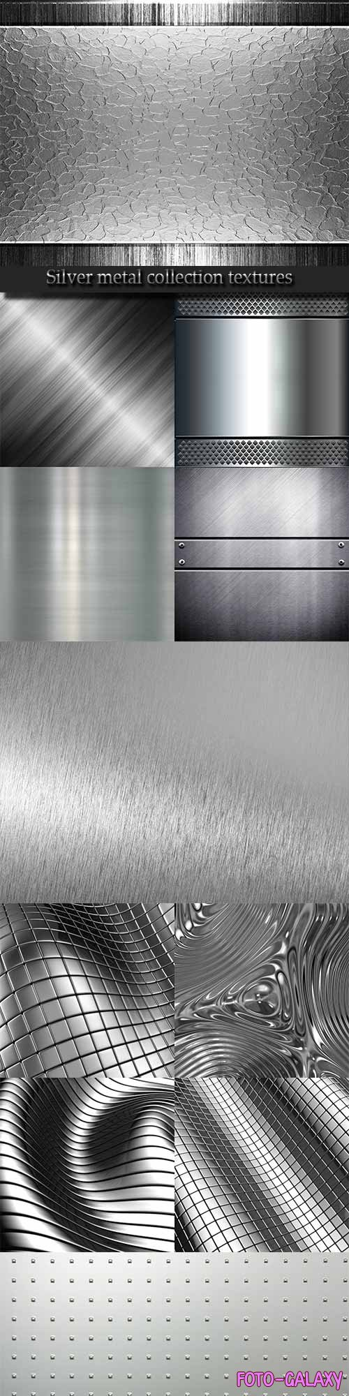 Silver metal collection textures