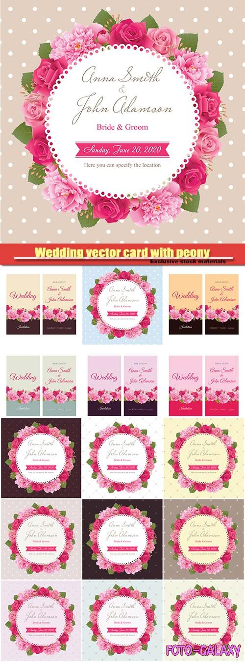 Wedding vector card with peony and pink roses