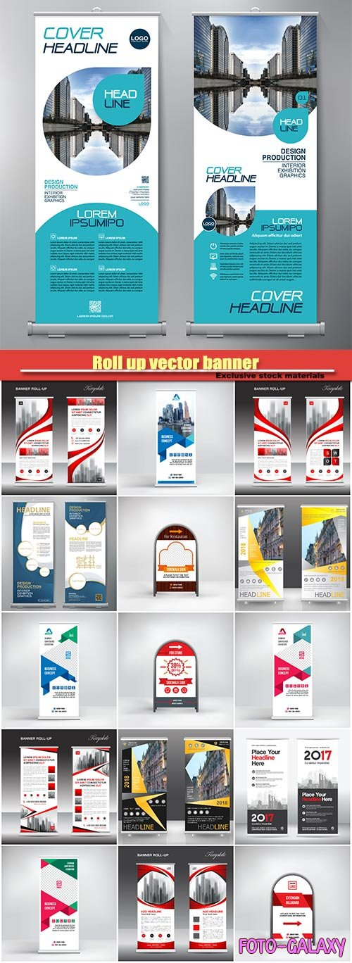 Roll up vector banner, stand template, poster, advertisement, business layout