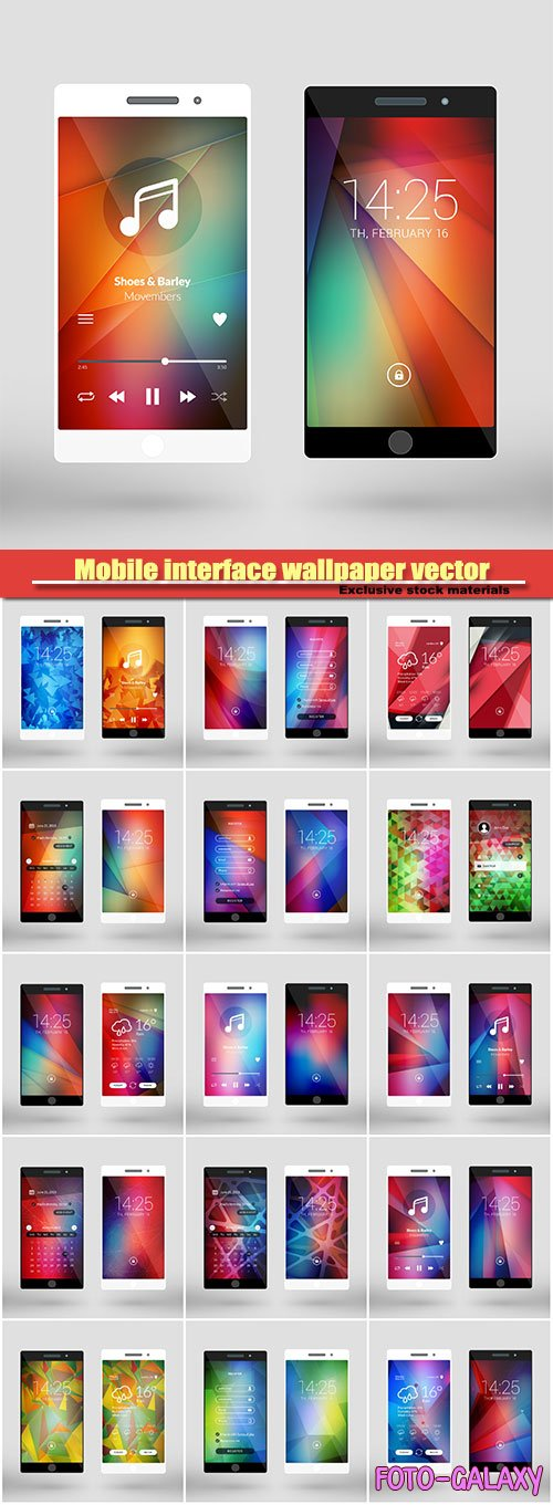 Mobile interface wallpaper vector design