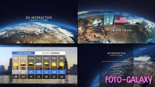 3D Interactive Earth Globe - Project for After Effects (Videohive)