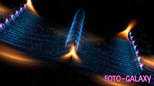 Orange Halo on Blue Particle Waves in Space