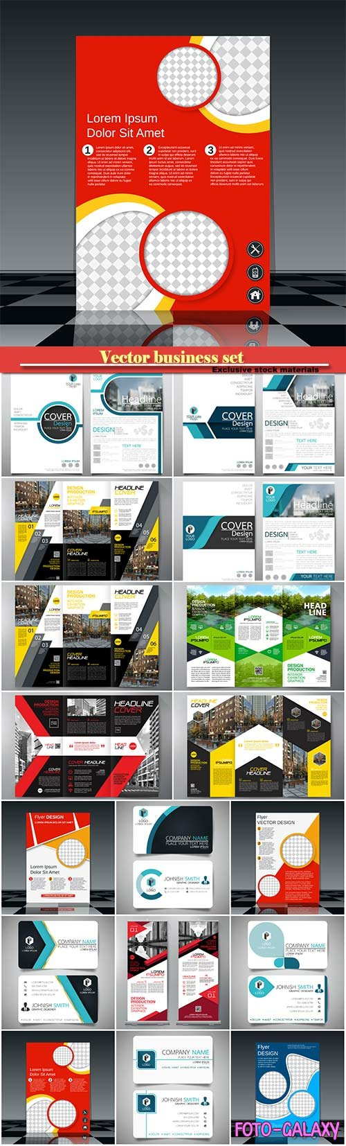 Vector business set, roll up, brochure and business card
