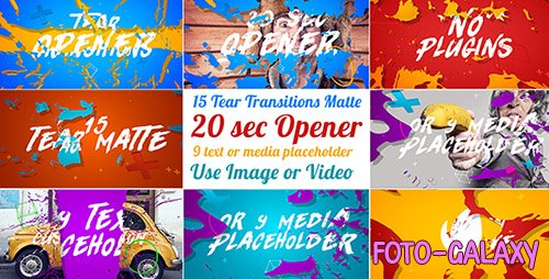 15 Tear Transitions with Opener - Project for After Effects (Videohive)