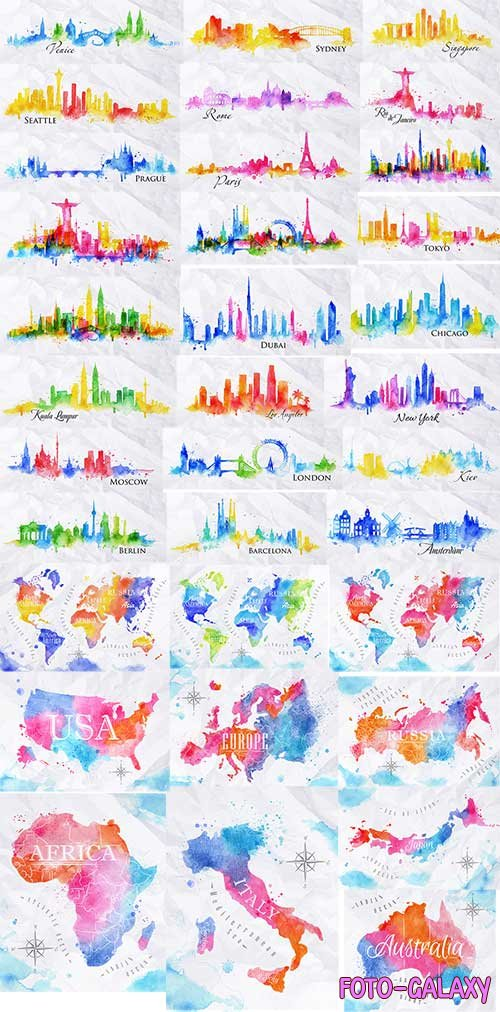 Watercolor world map and Silhouette city in vector