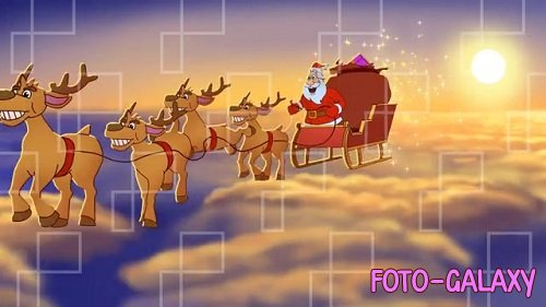 ANIMATED SANTA CLAUS FLYING CLOUDS AE 095981494