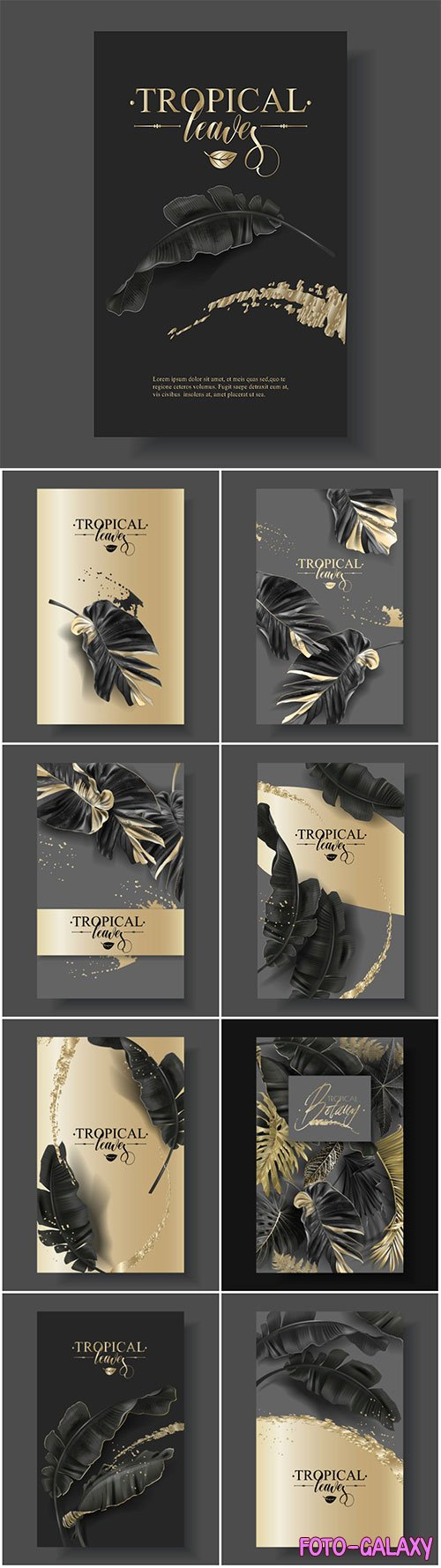 Vector banner with tropical leaves and gold splashes, design for cosmetics, spa, perfume
