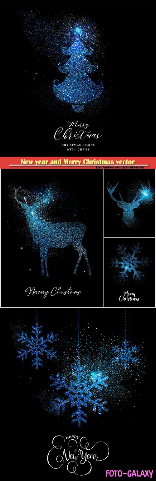 Merry Christmas blue glitter pine tree, reindeer, vector card