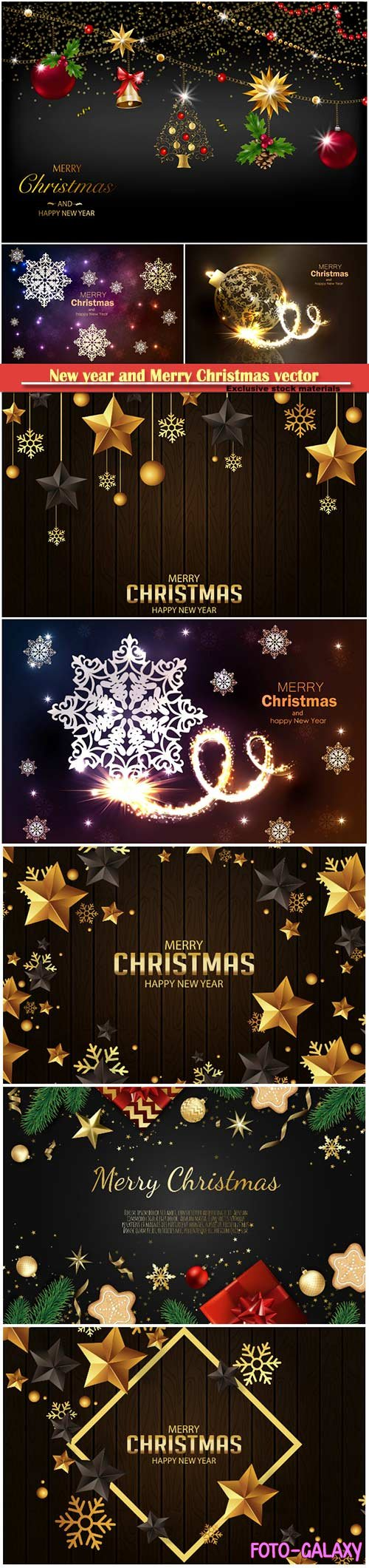 Vector Christmas decorate cards, tree branches, gold stars, christmas balls