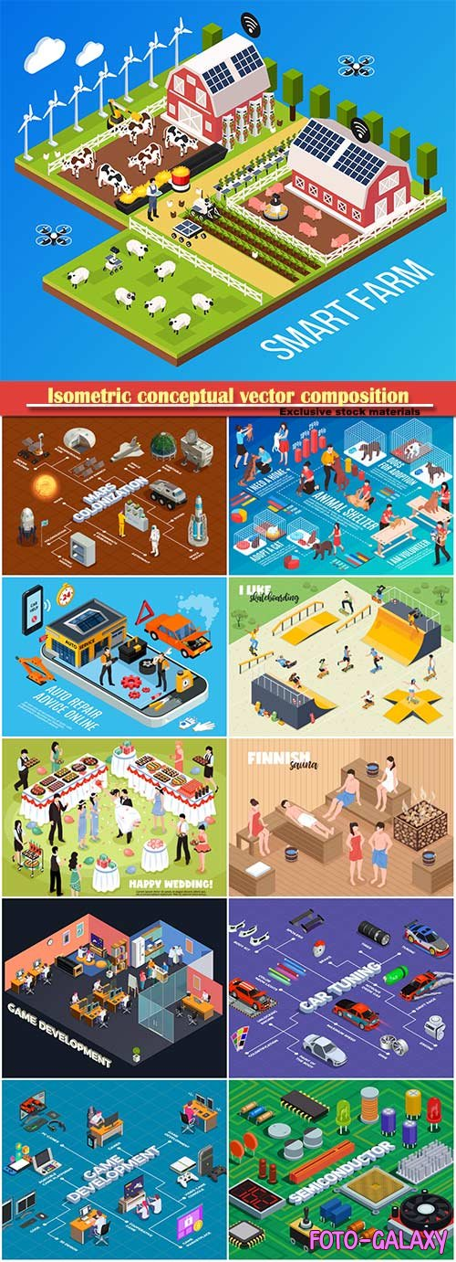 Isometric conceptual vector composition, infographics template # 65