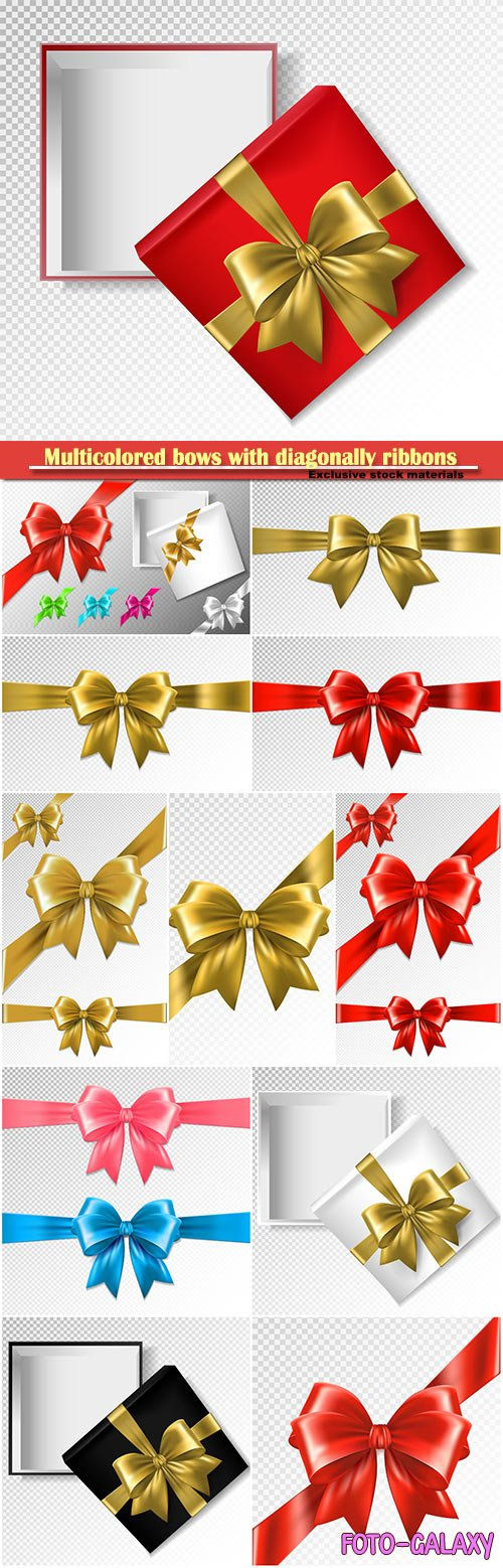 Set of multicolored bows with diagonally ribbons vector illustration