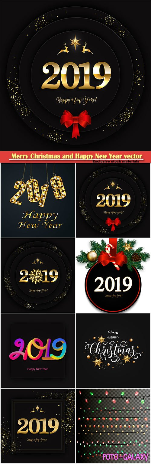 2019 Merry Christmas and Happy New Year vector design