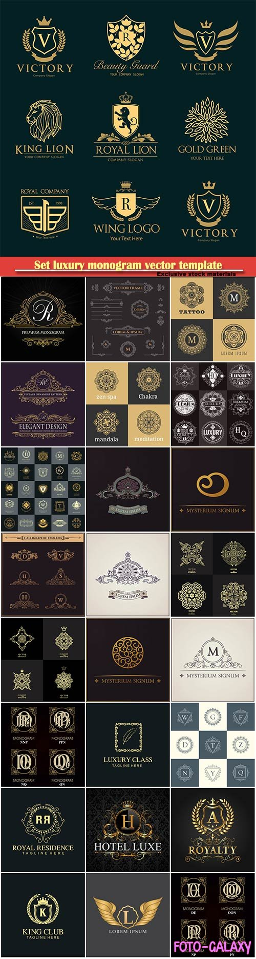 Set luxury monogram vector template, logos, badges, symbols # 2