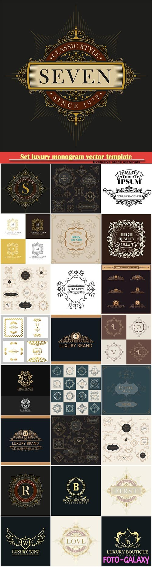 Set luxury monogram vector template, logos, badges, symbols