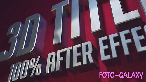 3D Titles - 100% After Effects 156132 - After Effects Templates