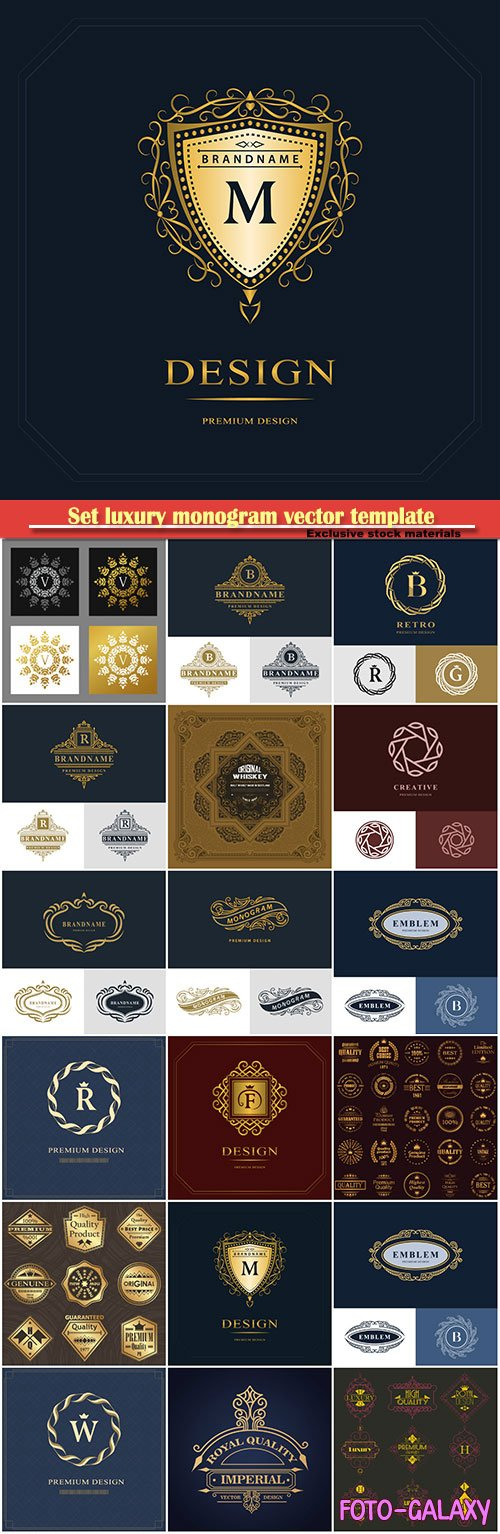 Set luxury monogram vector template, logos, badges, symbols # 16