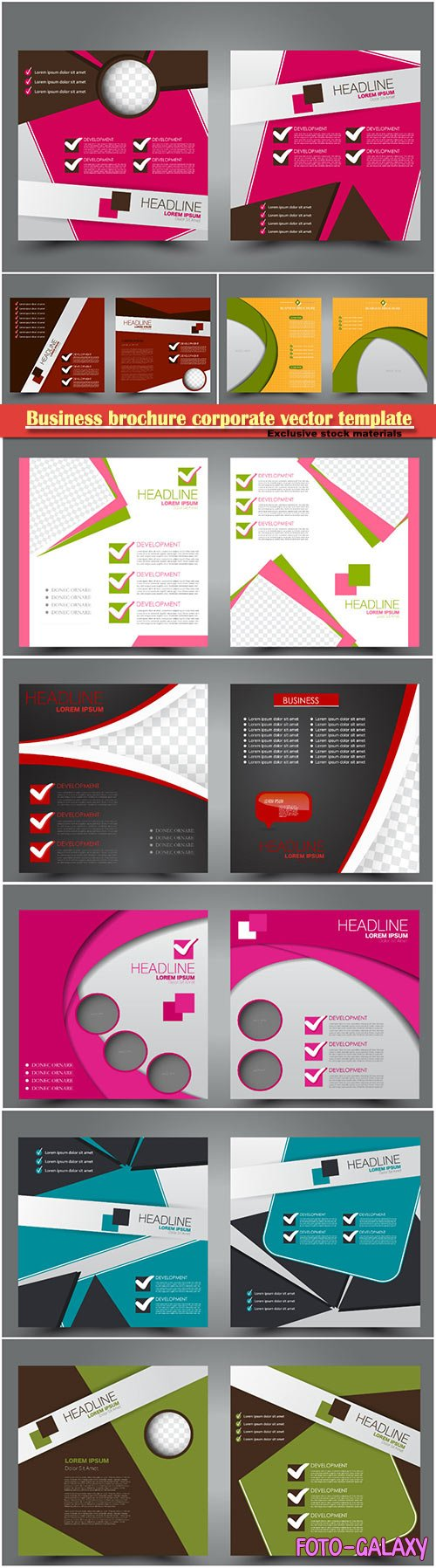 Business brochure corporate vector template, magazine flyer mockup # 14