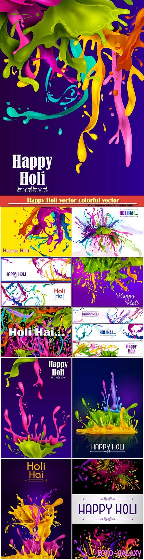 Happy Holi vector colorful vector illustration