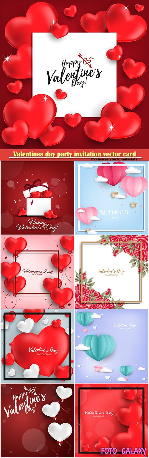 Valentines day party invitation vector card # 31