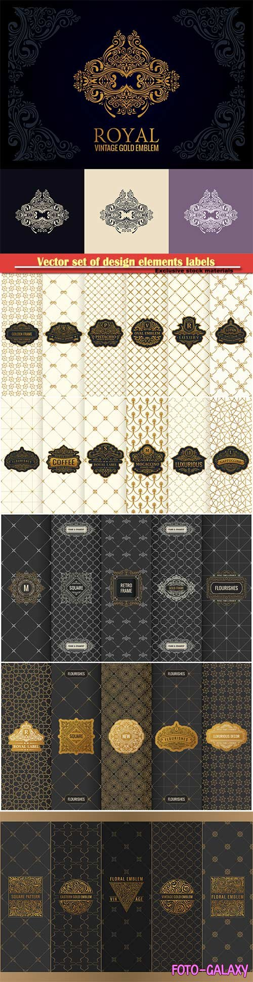 Vector set of design elements labels, icon, logo, frame, luxury packaging