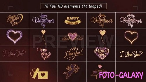 Shiny Love, Hearts, Valentine's Day Pack 173093 - Motion Graphics