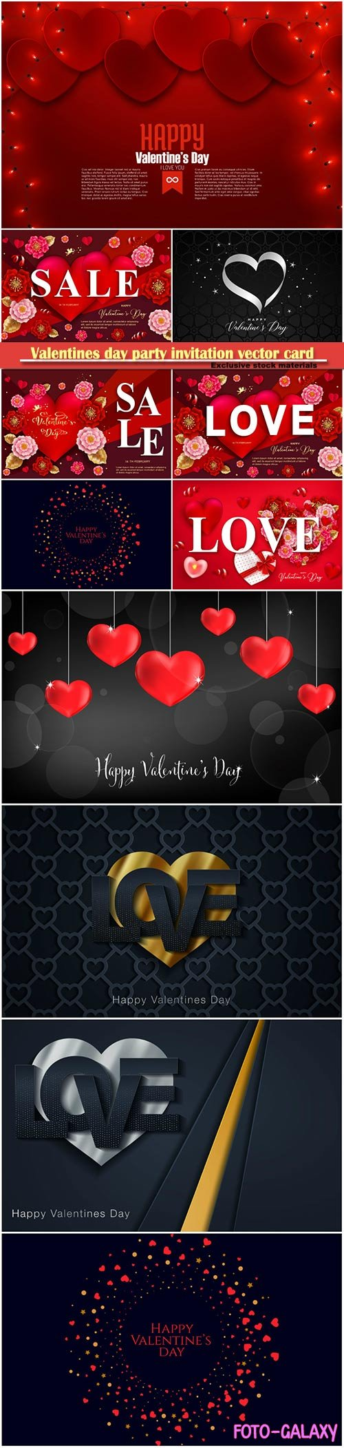 Valentines day party invitation vector card # 48