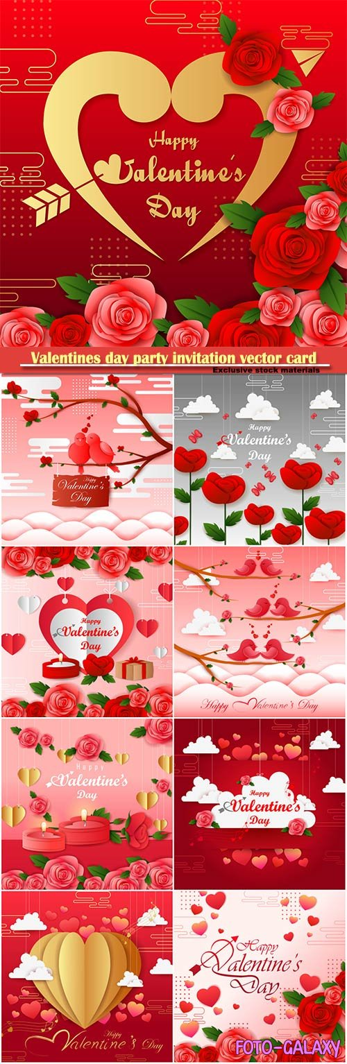 Valentines day party invitation vector card # 57