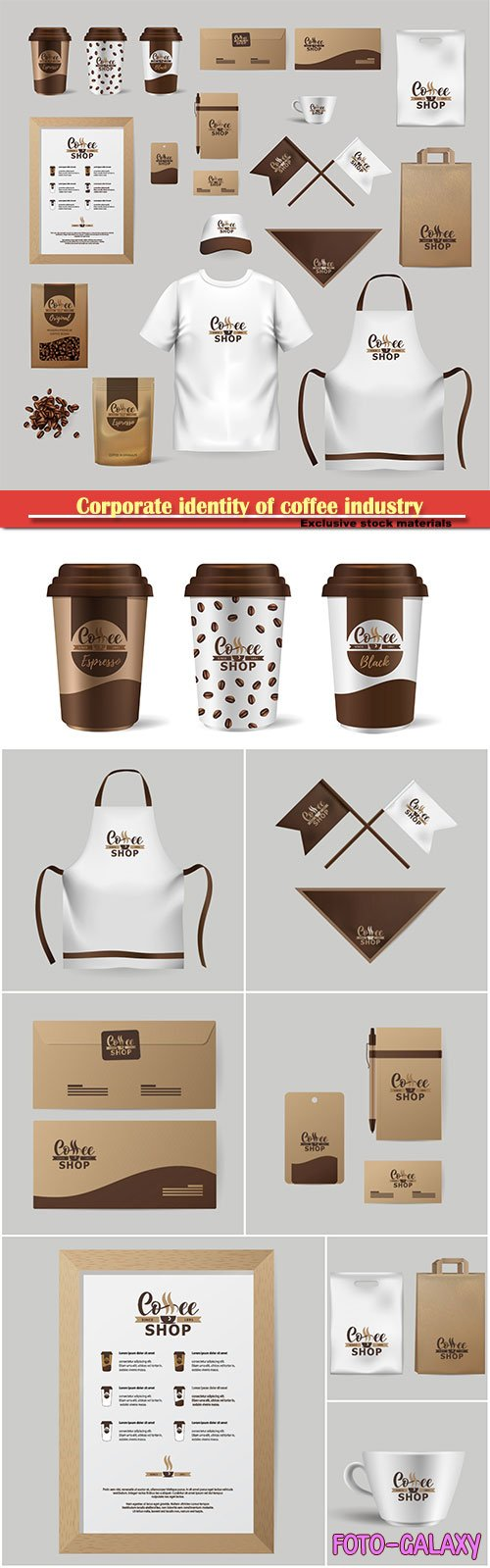 Corporate identity of coffee industry, realistic branding mock up template for cafe, coffee shop
