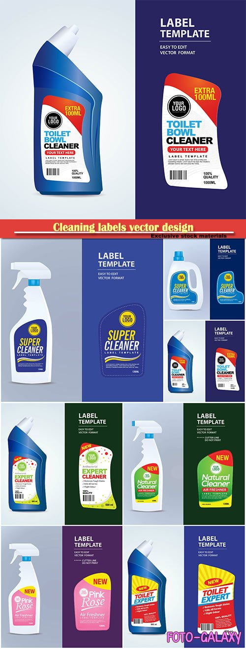 Cleaning labels vector design