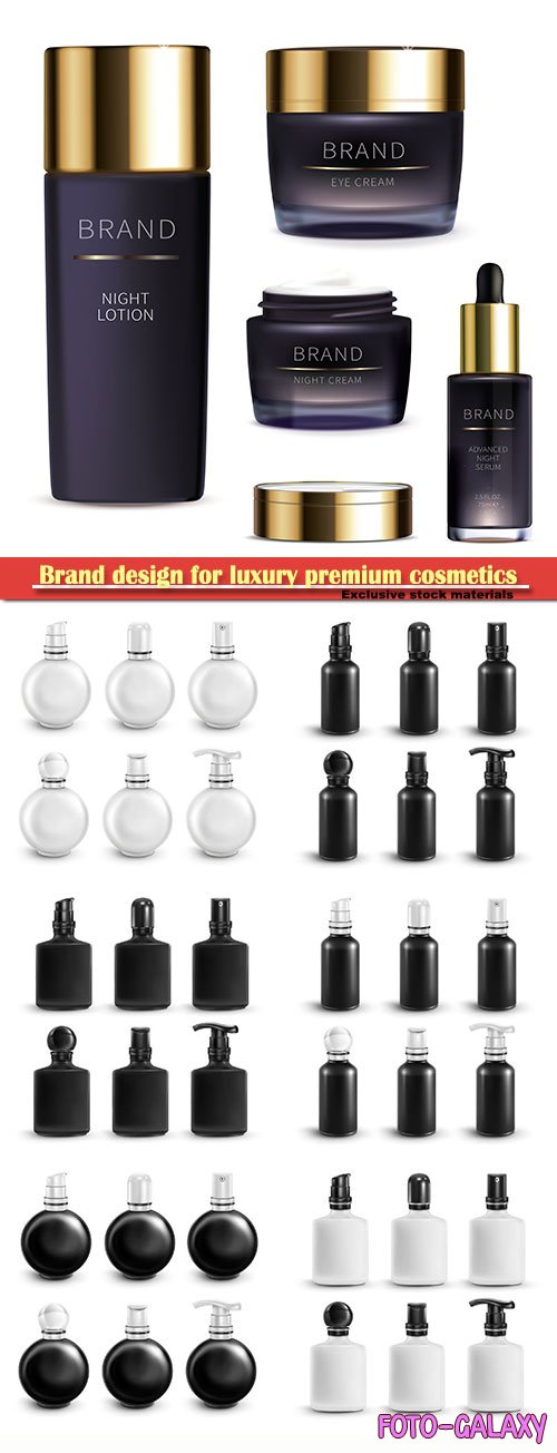 Brand design for luxury premium cosmetics, vector mock up set with black and white vial
