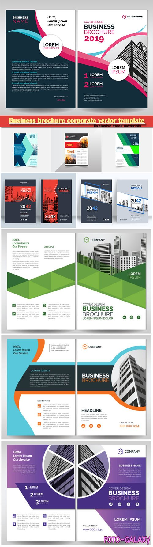 Business brochure corporate vector template, magazine flyer mockup # 55