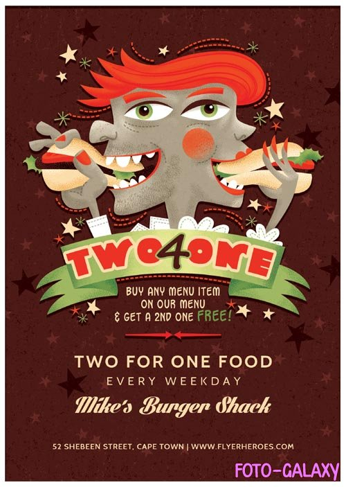 Two for One psd flyer template