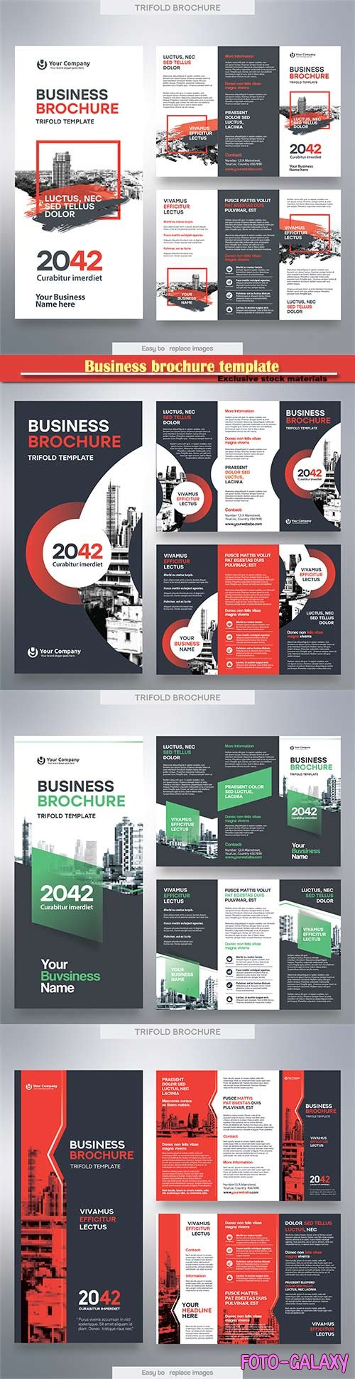 Business brochure template in tri fold layout vector design