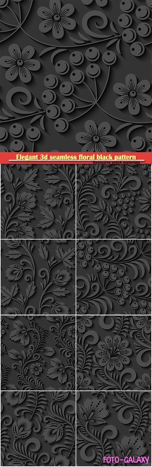 Elegant 3d seamless floral black pattern in vector Illustration