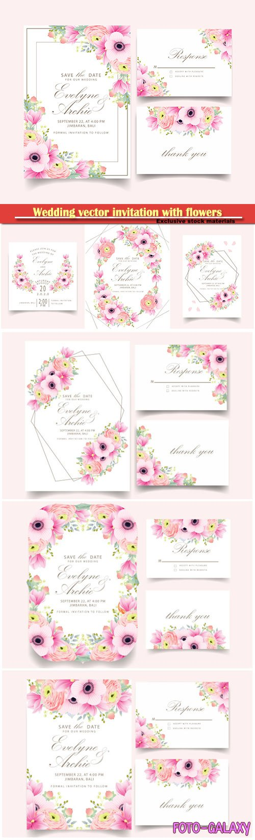 Wedding vector invitation with beautiful flowers