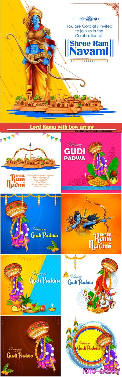 Lord Rama with bow arrow in Shree Ram Navami celebration, Gudi Padwa Lunar New Year background for religious holiday of India