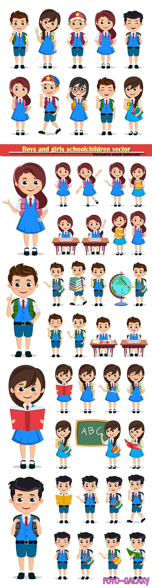 Boys and girls schoolchildren vector illustration