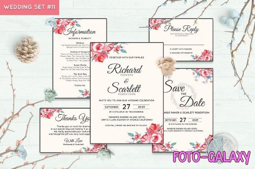 Wedding Invitation Set #11 Watercolor Floral Flower Style - 239693