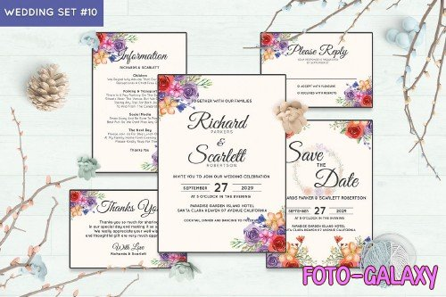Wedding Invitation Set #10 Watercolor Floral Flower Style - 239691