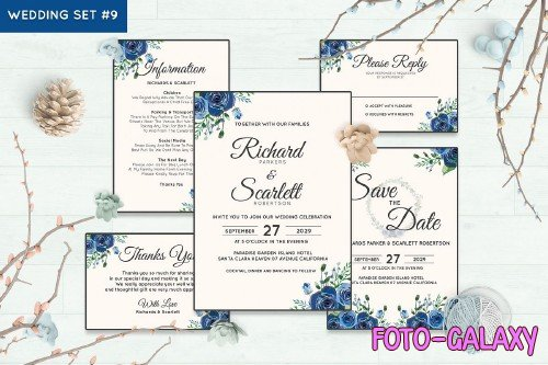 Wedding Invitation Set #9 Watercolor Floral Flower Style - 239688