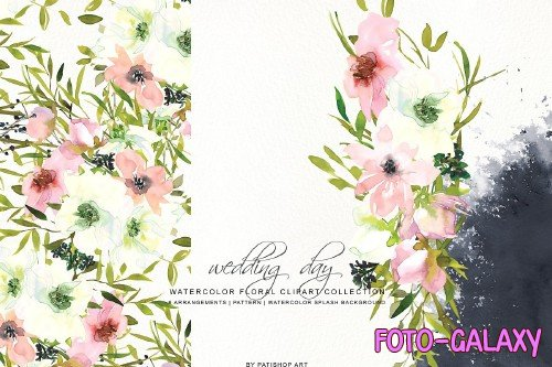 Watercolor Blush White Rose Clipart - 3723239