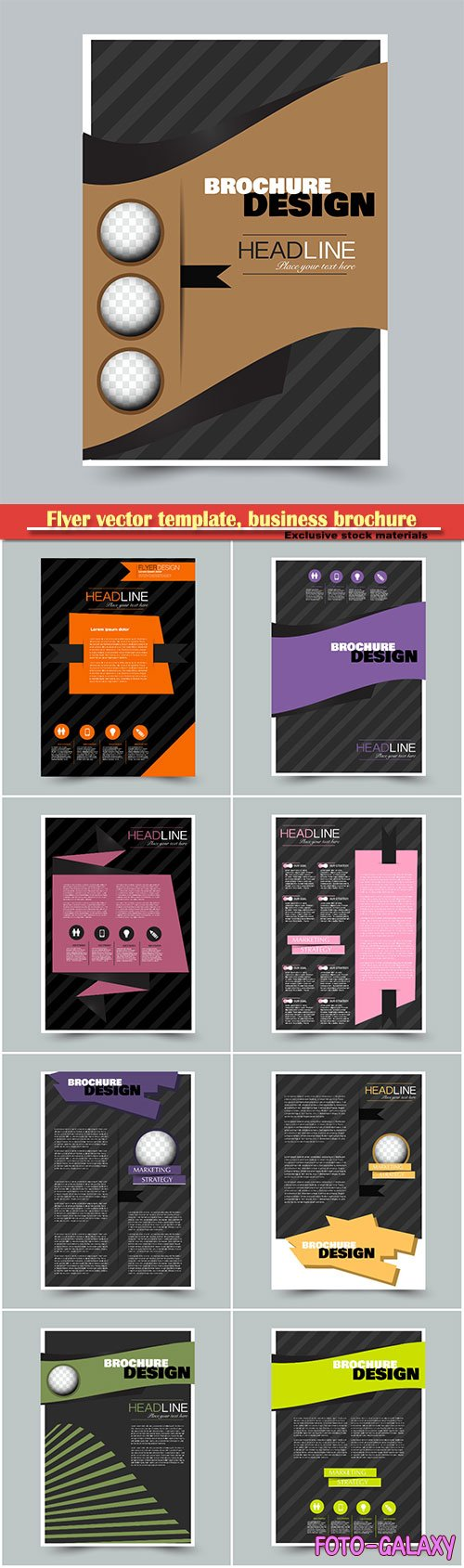 Flyer vector template, business brochure, magazine cover # 16