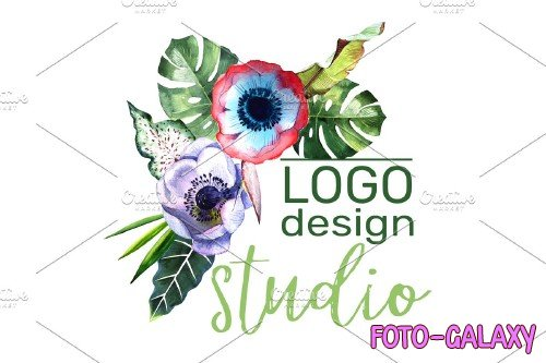 LOGO with tropical flowers Watercolor - 3727221