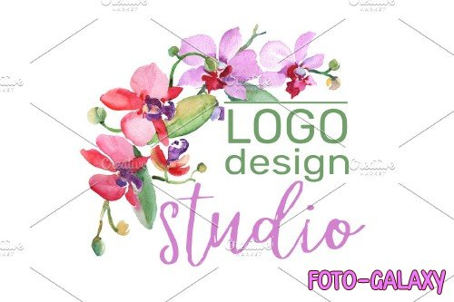 LOGO with beautiful orchids - 3727251