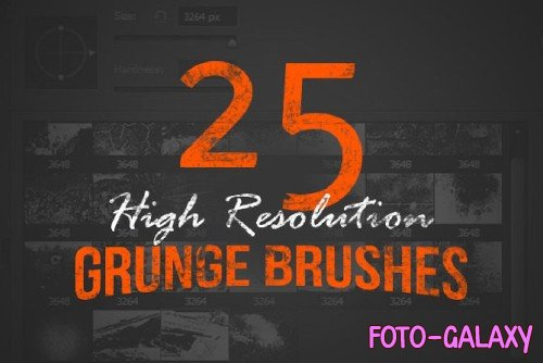 25 High Resolution Grunge Brushes - 76728