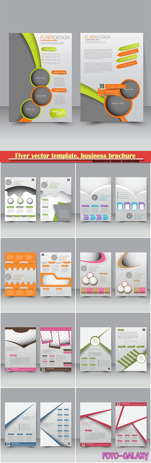 Flyer vector template, business brochure, magazine cover # 25