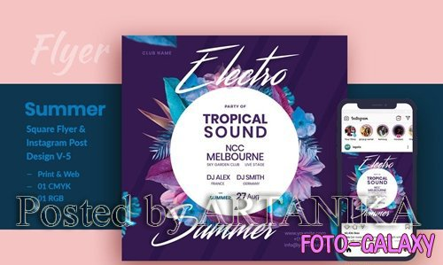 Electro Summer Party PSD Flyer and Instagram Post V-5