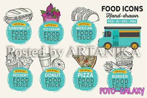 Food Truck Hand-Drawn Graphic